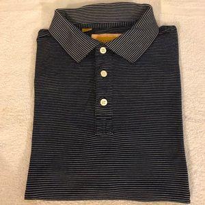 Robert Talbott Caramel Navy Stripe Polo Shirt L